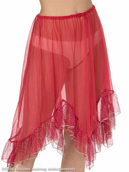 Red Knee Length Petticoat Adult Plus
