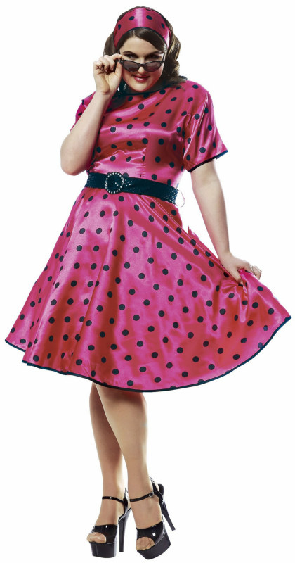 Hot 50's Pink Adult Plus Costume