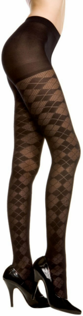 Argyle Tights Black - Adult